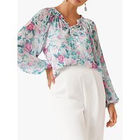 Forever New Issy Gathered Pintuck Floral Print Blouse, Glasshouse