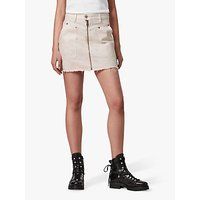 AllSaints Elma Tie Dye Denim Skirt, Chalk White/Pink