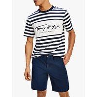 Tommy Hilfiger Organic Cotton Signature Stripe T-Shirt, 0A4 Blue
