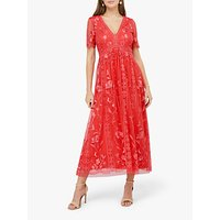 Monsoon Valentina Embroidered Midi Dress, Coral