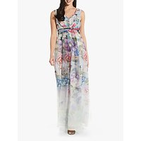 Adrianna Papell Floral Print Sleeveless Ball Gown, Ivory/Multi