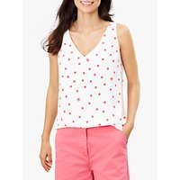 Joules Kyra Spot Crab Print V-Neck Camisole Top, White/Pink