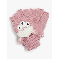 John Lewis & Partners Children's Llama Flip Top Knit Gloves