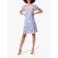 French Connection Eme Wrap Floral Dress, Soft Blue/Multi