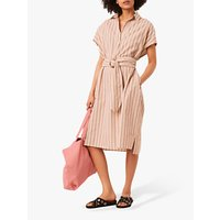 French Connection Verve Stripe Cotton Linen Dress, Neutral/Multi