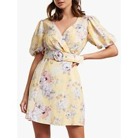Forever New Maggie Linen Blend Floral Print Wrap Dress, Citrus Bouquet