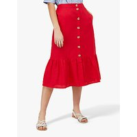 Monsoon Monika Linen Midi Skirt, Red