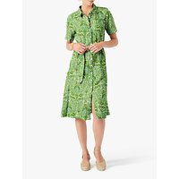 Brora Botanical Print Linen Shirt Dress, Lime
