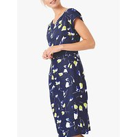 Brora Tulip Print Linen Shift Dress, Navy/Lime