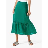 Brora Gauzy Linen Midi Skirt, Emerald