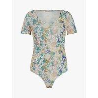 AllSaints Raffi Snake Print Bodysuit Top, Ecru/Multi