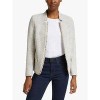 Helene For Denim Wardrobe Notch Collar Tweed Jacket, Grey