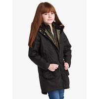 Barbour International Girls Homeswood Wax Coat, Olive