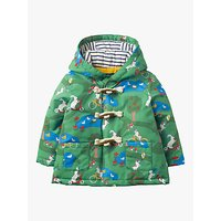 Mini Boden Baby Water-Resistant Printed Duffle Coat, Green Park Life