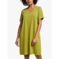 EILEEN FISHER Organic Cotton V-Neck Dress, Mustard Green