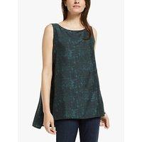 EILEEN FISHER Silk Shadow Print Longline Vest Top, Forest Night