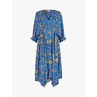 Monsoon Draped Paisley Dress, Blue