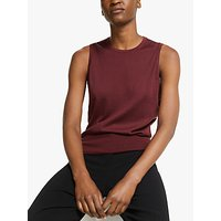 Theory Silk Cotton Sleeveless Knit Top, Bordeaux