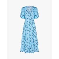 Ghost Ruby Floral Cotton Midi Dress, Watercolour Blue
