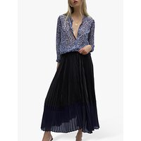 French Connection Crepe Pleated Skirt, Black/Utility Blue