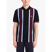 Fred Perry Vertical Stripe Polo Top, Burgundy/Blue/Black
