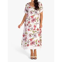 chesca Floral Print Linen Dress, White/Red