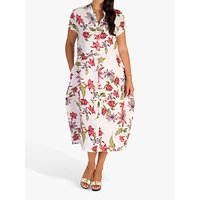 chesca Floral Print Cocoon Linen Dress, White/Red
