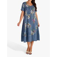 Chesca Floral Print Pintuck Linen Dress, Denim