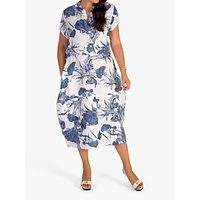 chesca Carnation Print Cocoon Linen Dress, White/Denim