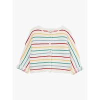 Baby Joule Stripe Knitted Cardigan, White/Multi