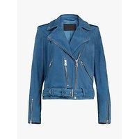 AllSaints Suede Biker Jacket, Cobalt Blue
