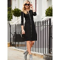 Sosandar Zip Front Collarless Denim Dress, Black