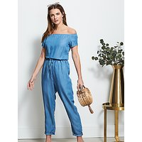 Sosandar Bardot Denim Jumpsuit, Blue