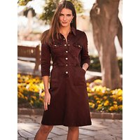 Sosandar Stretch Denim Shirt Dress, Burgundy