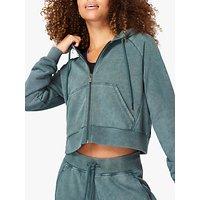 Sweaty Betty Gary Zip Through Cropped Hoodie, June Bug Green