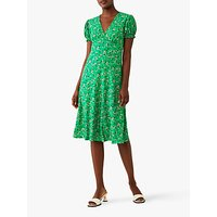 Ghost Jemima Floral Print Knee Length Dress, Green
