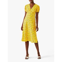 Ghost Jemima Floral Print Knee Length Dress, Yellow