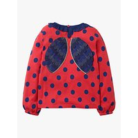 Mini Boden Girls' Winged Jersey Polka Dot Ladybird Top, Red