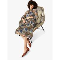 The Fold Lancaster Floral Print Pleated Silk Blouse, Multi