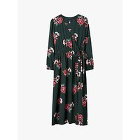 Joules Chloe Floral Print Fixed Wrap Dress, Green Floral