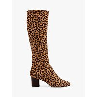 Boden Stretch Leopard Print Knee High Boots, Natural