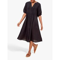 East Pin Tuck Linen Midi Dress, Black
