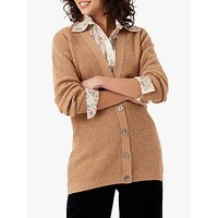 Brora Cashmere Cable and Ribbed Cardigan, Sand