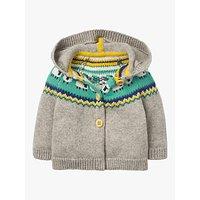 Mini Boden Baby Fair Isle Sheep Knitted Jacket, Grey Marl
