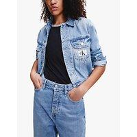 Calvin Klein Performance 90s Crop Trucker Denim Jacket, Light Blue