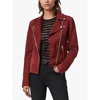 AllSaints Dalby Redge Suede Biker Jacket, Maroon Red