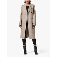 AllSaints Chiara Check Trench Coat, Neutral Beige