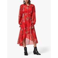 AllSaints Leonie Melisma Floral Midi Dress, Red