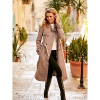Sosandar Taupe Belted Trench Coat, Taupe