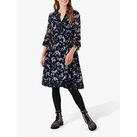 Brora Floral Embroidered Silk Knee Length Dress, Navy